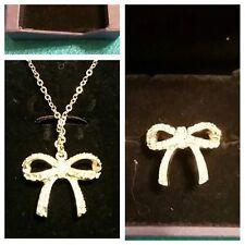 Swarovski Signed Crystal Lucia Bow Necklace & Ring Size 6 Set NIB