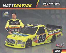 "2018 MATT CRAFTON ""IDEAL DOOR"" #88 NASCAR TRUCK POSTCARD"