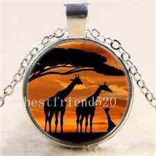 Sunrise Giraffe Cabochon Glass Tibet Silver Chain Pendant  Necklace