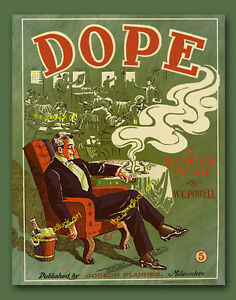 1909 DOPE Vintage sheet music cover of man smoking & drinking 8x10 Art print