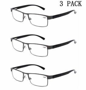 3 Pairs Men Spring Hinges Reading Glasses Business Metal Rectangle +1.0~+4.0 J