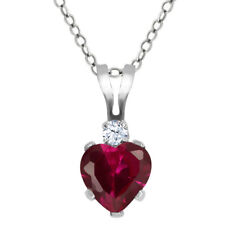 0.63 Ct Heart Shape Red Created Ruby White Topaz 925 Sterling Silver Pendant