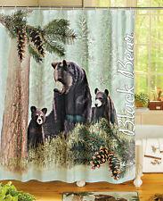 Lodge Cabin Home Bath Decor Northwoods Mama Black Bear & Cubs Shower Curtain