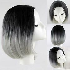 Black Ombre Grey Lady Bob Short Straight Wig Synthetic Hair Lace Front Hot Sell