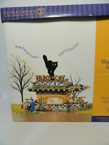 Dept 56 Snow Village Halloween BLACK CAT DINER  Very nice! Missing Figure