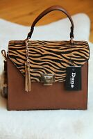Dune London NEW Satchel Handbag Purse Brown Leather, Tiger Print Cover
