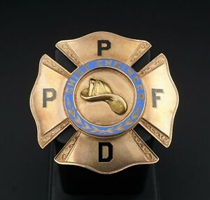 1888 Portland Paid Fire Department Chief Engineer 14k Gold Badge Oregon M1037