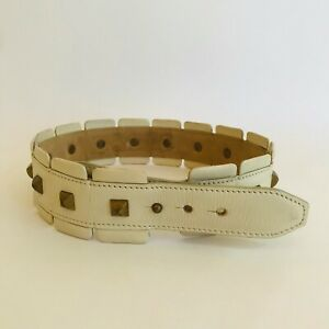 VINTAGE ALAIA RARE WHITE LEATHER BELT WITH STUDS SIZE 65 MADE IN FRANCE XS S