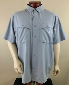 UNDER ARMOUR UA Tide Chaser Short Sleeve Vented Fishing Shirt Size 2XL