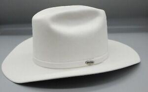 STETSON white COWBOY HAT western wear RARE royal blue lining size 7&1/4 58 6x !!