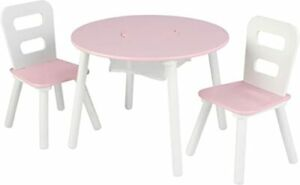 KIDKRAFT 3 PIECE ROUND TABLE AND 2 CHAIR SET CENTER MESH STORAGE PINK & WHITE
