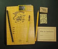 HE3 LOT HELICOPTERE ANCIEN CAHIER PORTE PLUME ECOLE SCOLAIRE AVIATION OLD SCHOOL