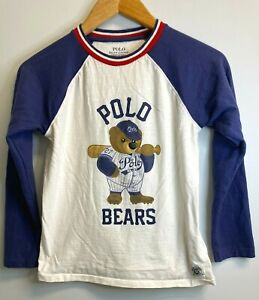 EUC Polo Ralph Lauren Big Boys Sz S T-shirt Baseball Polo Bear White Long Sleeve