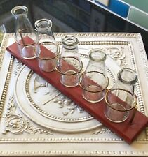 5 Bottles Vases on Wood Tray Farmhouse Decor Excellent