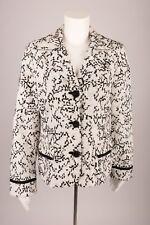 Chico's Women's Blazer Black & White Jacket Suit Coat Embroidered Sz 1 Small 8