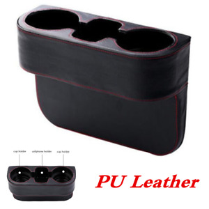 Dual Cup Holder Storage Box Phone Stand fit for Car Seat Seam Wedge Console Side