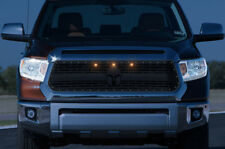 Steel SPARTAN Grille + 3 Amber Raptor Lights for 14-17 Toyota Tundra Truck Grill