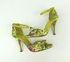bc04441d5e8 Gucci 7.5 8B Flora Yellow Satin Bow D Orsay Heels Ankle New Without Box