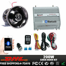 200W New Car Alarm Police Fire Loud Speaker PA Siren Horn System Kit Bluetooth