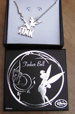 Genuine Disney TINKERBELL silver silhouette Tink Fairy necklace Pendant + Box