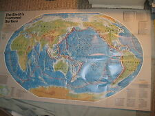 THE EARTH'S FRACTURED SURFACE EARTHQUAKE FAULTS MAP National Geographic 1995