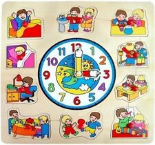 New 2 in 1 WOODEN EDUCATIONAL TOY - Learn about Time with Fun CLOCK + PUZZLE