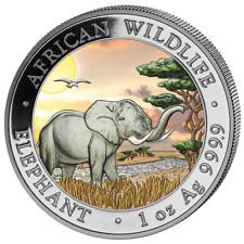 1 oz Somalia Wildlife Elefant 2019 999 Silber Silbermünze 100 Sh Farbe Tagdesign