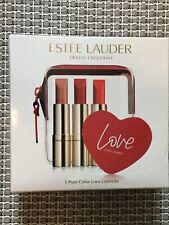ESTEE LAUDER TRAVEL EXCLUSIVE PURE COLOR LOVE LIPSTICKS TRIO SET: NEW -$60 VALUE