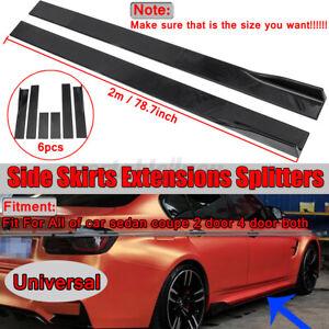78.7'' Universal Black Car Side Skirt Extension Panel Splitter Spoiler Protector