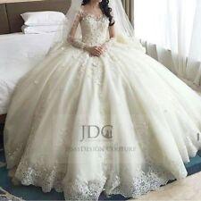 Märchenhaftes Sissi Spitze Brautkleid Hochzeitskleid mit Schleppe Langarm Ivory