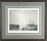 """Whalers"" After JMW Turner Engraving by R. Brandard Framed 14 1/2""x17"""