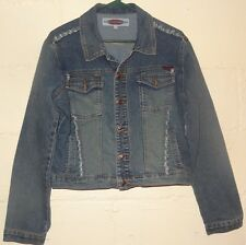 Women Jean Denim Jacket Made in Russia Size Large Forever 4 U Button Down