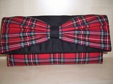 BURNS NIGHT RED ROYAL STEWART TARTAN & BLACK faux suede clutch bag, BN