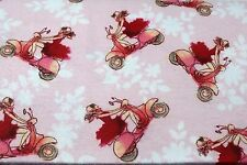 PINK VESPA SCOOTER FASHIONISTA FLANNEL FABRIC 100% COTTON SEWING QUILTING BTY