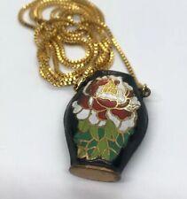 """Vintage Necklace 30"""" Cloisonne Pit Pitcher Enamel Gold Tone"""