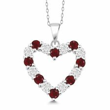 Natural Diamond And Natural Garnet Heart Pendant Necklace In 925 Sterling Silver