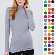 WOMEN SOLID COTTON TURTLENECK LONG SLEEVE TOP SHIRT T11901