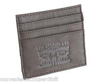 Levi's Portacarte di credito in pelle di colore marrone scuro
