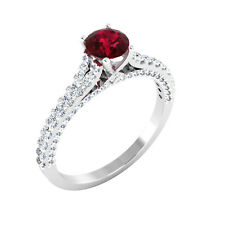0.71 Ct Genuine Diamond Engagement Ruby Ring 14K Real White Gold Size N O P