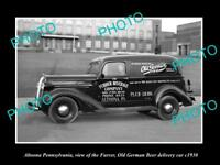 OLD LARGE HISTORIC PHOTO OF ALTOONA PENNSYLVANIA THE OLD GERMAN BEER CAR c1930
