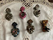 "Set/7: ""Antique Victorian Christmas Tree Candle Holder Clips"", Colored Patina"