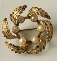 Vintage Damascene flower leaf  pin brooch in enamel on metal with faux pearl