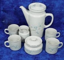European Style Classic Ceramics Coffee 9 Pieces Set ~ Ivory ~ Floral ~ Gold Trim
