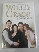 WILL & GRACE Temporada 8 Completa 3 X DVD Español Ingles Region 2 - 3T