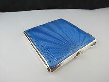 Art Deco Sterling Silver & Guilloche Enamel Powder Compact Hallmarked 1940