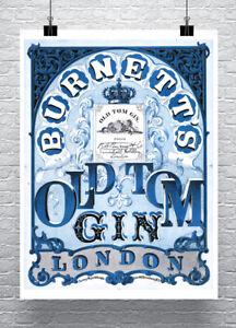 Old Tom Gin London Vintage Liquor Poster Fine Art Print on Canvas or Paper