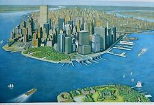 RICHARD HAAS MANHATTAN VIEW,GOVERNOR'S ISLAND 1999 HAND SIGNED ETCHING US Artist