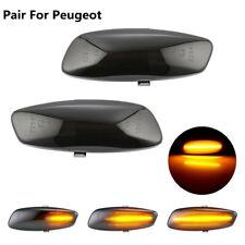 2x Dynamic Smoke Lens LED Side Marker signal Light For Peugeot 207 308 3008 5008