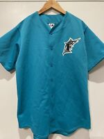 Vintage Florida Marlins Teal Pinstripe Jersey Size Adult Large MLB Baseball