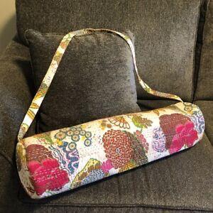 Abundant Life USA Yoga Mat Bag Quilted Floral Shoulder Strap Carrier Cotton USA